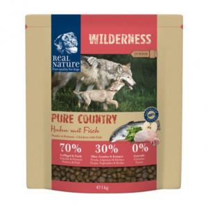 """Wohl eines der besten Trockenfutter-Sorten für Hunde: """"REAL NATURE WILDERNESS Pure Country Junior Huhn mit Fisch""""."""